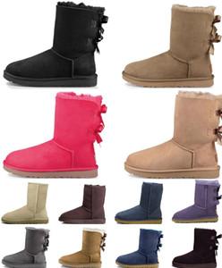 Avustralya Kısa Kar Ayak Bileği Deri Kestane 2021 Çizmeler Ayakkabı Için Kış Kadın Erkek Papyon Brown Half
