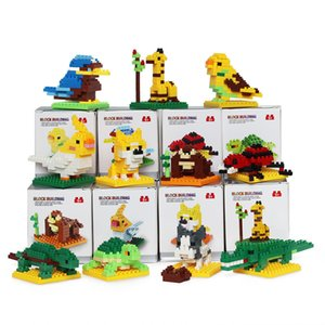 Cute Cartoon animal block toy Mini Cartoon animal building block toy Kid Christmas Gift 15 styles