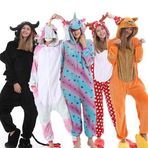 Женщины Men Pajama набор Kigurumi взрослых Unicorn Pajamas животное Panda стежка onsie косплей pijama фланелевая женщина домашняя одежда первая одежда 20111