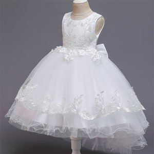 10 Yrs Little Girls Floral Dress Ceremony Prom Gown Communion Teen Girl Clothes Kids Dresses For Girls White Wedding Train Dress