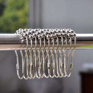 New Shower Curtain Rings Hooks Stainless Steel Bathroom Clip Easy Glide Hooks Polished Shower Curtain Rings Curtain Hooks Lx4926