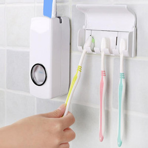 Fashion Automatic Toothpaste Dispenser With Five Toothbrush Holder Stand Wall Mount Bathroom Toothbrush Family Sets Rack