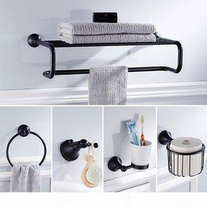 Черный Hookathroom Hardware Set Solid Brass Полотенцесушитель для ванной Полки настенные двухконтурные Стержни Ванна Аксессуары ЕРШ yxlrre ffshop2001