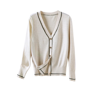 Contrast Piping Cardigan Women V Neck Wool Blended Cardigan Sweater S-XL Y200915