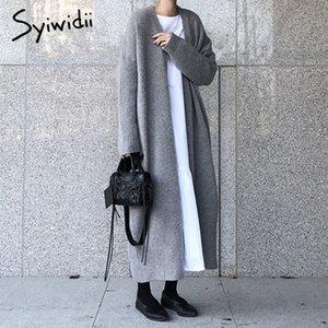 Syiwidii NUEVO Cardigan largo Mujeres elegantes Ladies Floot Ribbed Punto de gran tamaño Moda abrigo largo otoño e invierno 201030