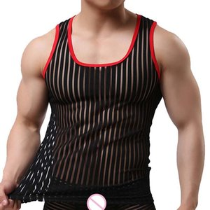 Men Sexy Bodybuilding Tank Top Fun Breathable Striped Camiseta Tirantes Hombre Undershirts Transparent Mesh Tank Tops 201009