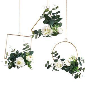 Artificial Hoop Wreath 3 Pack Flower Metal Hanging Hoop Wreath for Wedding Arch Backdrop Bridal Wall Decor