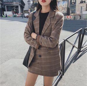 Mozuleva 2021 retro plaid blazer conjunto chaqueta de un solo pecho lápiz falda 2 piezas falda traje mujer oficina señoras blazer traje