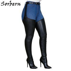 Sorbern Siyah Stretch Westloop Boots Kadınlar Yüksek Topuklar Sivri Burun Kasık Uyluk Bayanlar Boot Özel İnce Geniş Bacaklar Buzağı Q1104
