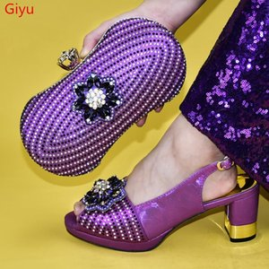 doershow New purple color Italian Shoes With Matching Bags African Women Shoes and Bags Set For Prom Party Summer Sandal!HVV1-9