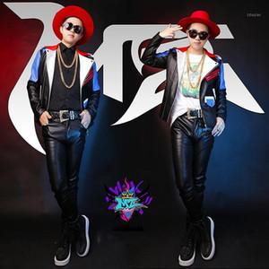 남성 가죽 가짜 가을 가을 - MZ 오리지널 남성 가수 DJ BigBang 권리 Zhi-Long GD 의상 남성용 레드와 블루 스티치 오토바이 자켓
