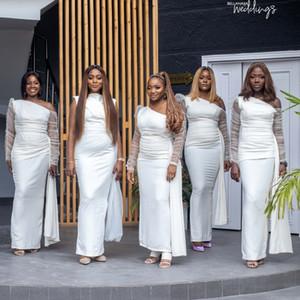 Ivory Sheath Bridesmaid Dresses One Shoulder Long Sleeve Ankle Length Pleats Wedding Guest Party Gowns robes de demoiselle d'honneur