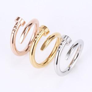 Anillo de uñas Anillo de oro de acero de titanio Negro Plata Rosa Gold Love Brand Anillo para mujeres Joyería de boda Ventas al por mayor China FedEx gratis con logo