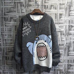 Ins tide Hong Kong Style shark sweater boys Korean version loose autumn winter thickened coat lazy wind cartoon T-shirt