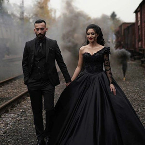 Black Ball Gown Satin One Shoulder Long Sleeve Appliques Wedding Dress with Sweep Train vestidos de novia Lace Up Back Wedding Gowns