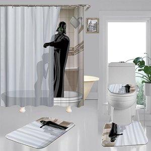 Cartoon divertente Alien Shower Curtain Set 4 pezzi Carpet WC coprire copertina Bath Mat Pad 5 modello impermeabile Bagno Decor 3 Dimensioni yxlasd