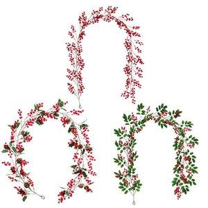 Weihnachten Acacia Bean Rattan Red Acacia Bean Green Leaf Künstliche Pflanzen Reben Startseite Künstliche Pflanzen Reben Weihnachten Deco FWB1510