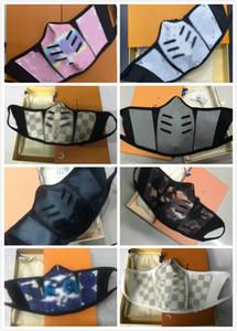 Designer de Moda Rosto Couro Máscara Dustproof reutilizáveis de pano de algodão máscara de couro de alta qualidade Ciclismo face Sports Máscara caixa de embalagem da mulher do homem