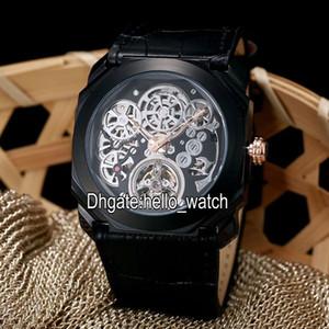 2019 옥토 Finissimo 뚜르 비옹 PVD 블랙 102719 해골 자동 남성 시계 고무 스트랩 높은 품질 겐트 저렴한 새로운 시계