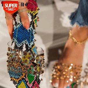 Ribetrini ins Hot Girl Toe Sobre Remache Slipet Casual Slips On Summer Mujeres Slippers 2020 Snake Print PVC Beach Slippers # BP0R