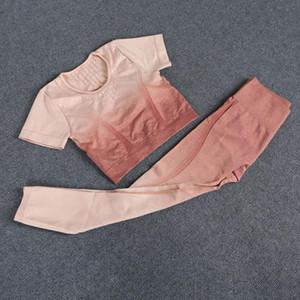 Diseñador para mujer yoga trajes trajes sin costura ropa deportiva hueco fuera de fitness deportes gimnasio conjunto de dos piezas juego de entrenamiento camisa leggings mujer corredor
