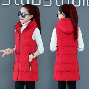 Wholesale new style down cotton vest women mid-length student winter vest jacket bf detachable hat vest