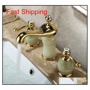 New Arrival High Quality Gold Finished Luxury Widespread Bathroom Sink Faucet Brass And Jade Bas qylukP new_dhbest