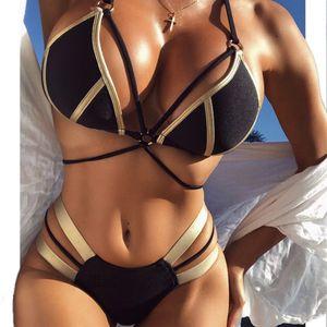 Best Selling Sexy Swimwear Women Bikini Set Solid Designer Fashion Trends Swimsuit Cut Out Summer Beach Bathing Suits Swim 3 Colors Q0XS