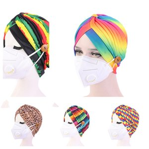 2021 Womans Indian Turban Hat with Face Mask Buttons Pleated Head Wrap Designers Fashion Hairwraps Chemo Stretchy Indian Cap GG12304