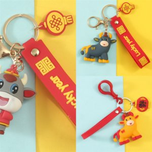 QJRS Métal Petits cadeaux pour l'année du souvenir Ox Souvenir Porte-clés Porte-clés Lucky Sac Lucky Letter Key Chain