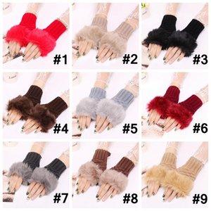 Kış Örme Eldivenler Saf Renk Kadın Parmaksız Eldiven Faux Fur Ponpon Eldivenler Moda Açık Örme Tığ Eldiven 9 Renk AHA1043