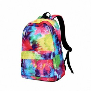Women Teenage Backpack Girls Nylon School Bags Casual Large Capacity Rainbow Color Travel Bags Bags EFzD#