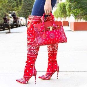 Frauen Bandana Stiefel Frauen über Knie-hohe Stiefel Weibliche Partei Frau pumpt Dame Sexy Thin High Heel Damenschuhe Big Size