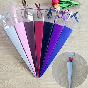 Caja de embalaje de flor de rosa single ramificación creativa Multi Colores con estilo romántico 60 * 7 cm Caja de envasado de flores de plástico grande DH0668 T03