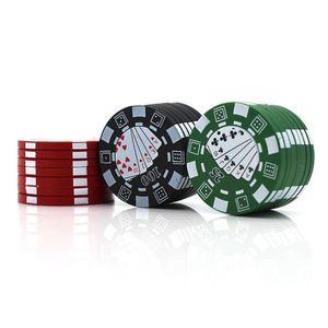 Дешевые Металл цинковый сплав Херб Grinder Алюминий Tobacco Дробилка Poker Дизайн Стиль 40мм 3-Layers Курительные принадлежности DHL FREE