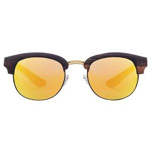 Nilerun brand vintage oval shape metal wood sunglasses