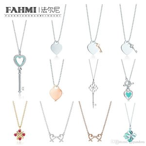 2019 925 Sterling Silver Charm Heart-shaped Key Pendant Gift Women Elegant Necklace Clavicle Chain Rose Gold Inlaid Zircon TIF Free Shipping