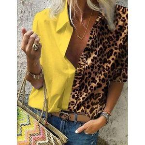 Women Leopard print Button Long Sleeve Blouses Autumn Casual Loose Office Shirt Femme Plus Size 5XL Floral Print Shirt Free del