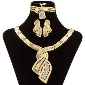 Fashion Gold Jewelry Nigerian Crystal Necklace Hoop Earrings Women Italian Bridal Jewelry Sets Wedding Accessories