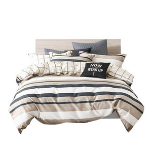 Nordic Stripe Bed Sheet Four Piece-Set Home 100% Cotton Brief Grid Coverlet Male Duvet Cover Pillow Case Gentleman Bedclothes