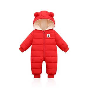 LZH Autumn Winter Infant Baby Clothing New Baby Boys Thick Down Cotton Jumpsuit Girls Long-sleeved Hooded Romper 3-12 Month 201027