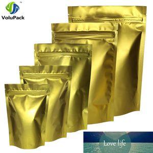 Qualitäts-100pcs / lot Matt Goldmetallischer Mylar heißsiegelbaren Stand Up-Beutel für Kaffeebohne Herb Lagerung Verpackungs-Beutel
