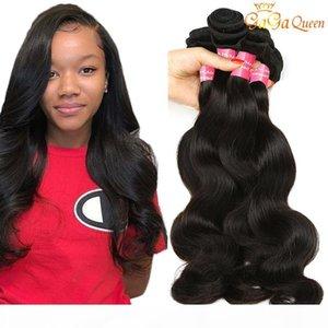 Groupes de cheveux Vierge Virgin 3 à 4 pcs Indian Body Wave Humain Hair Weave Bundles Couleur naturelle Gaga Queen