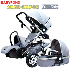 2018 new version Baby Stroller 3 in 1 With Car Seat High landscape Folding Baby Carriage 0-3 Years Prams1