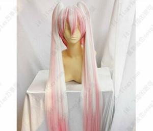 Hatsune miku-sakura hatsune rosa e branco cos peruca clipe rabo de cavalo 100cm cosplay festa peruca