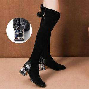 Moda sopra il ginocchio Lungo Inverno Strass Tacchi alti per le donne Thick Heel Black Stretch Stivali Botas c1023