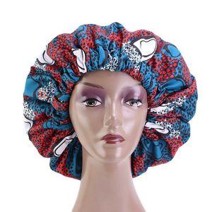Extra Large Size Satin Lined Bonnets African Pattern Print Fabric Bonnets Sleep Cap Night Sleep Hat Ladies Turban