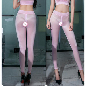 Women Ice Silk See Through Pencil Pants gym Sheer Smooth Transparent Leggings Sexy Shaping Bottom Wear Erotic Lingerie F22
