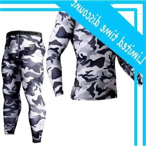 Men's Brand Clothing Army Camouflage Thermal Underwear Training suit Set Crossfit Fitness Shirt Gentlemen Leggings 2-piece Rashgarda Mma