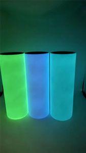 20oz DIY Sublimation Luminous paint Tumbler Skinny Tumbler Glow in The Dark STRAIGHT staliness steel magic bottle